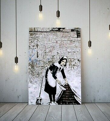 Banksy Sweeping Maid -Deep Framed Canvas Wall Art Graffiti Paper Print- Black