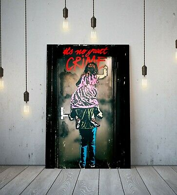 Banksy No Great Crime -Deep Framed Canvas Wall Art Graffiti Paper Print-Red Pink
