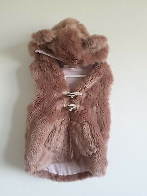 Next Girls Pink Furry Gilet Body Warmer Hood With Ears Size 5 6 Years