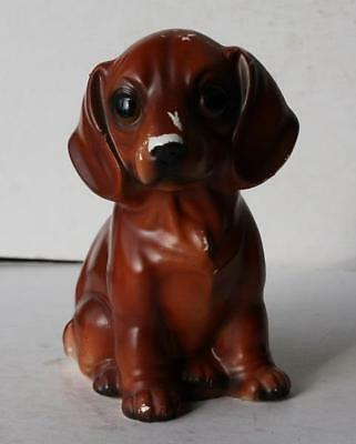 Dachshund Dog Figurine Sitting-Ceramic-Porcelain Hand Painted Brown Adorable