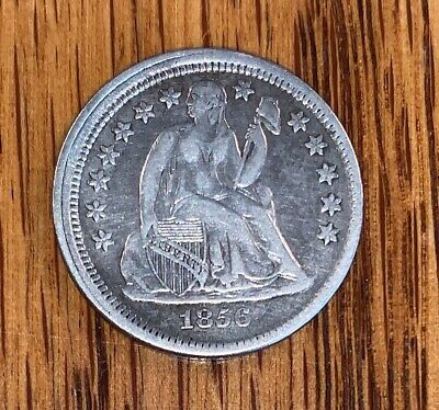 1856 Small Date LIBERTY SEATED SILVER Dime! VF/XF.