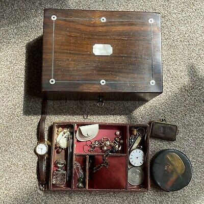 Job Lot Antique Collectables Silver Fob Watch Victorian Jewelery Box Bits & Bobs