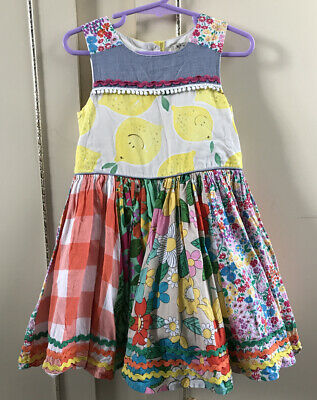 NEXT girls Summer Lemons Patchwork Multicoloured Dress Age 2-3 Years Party
