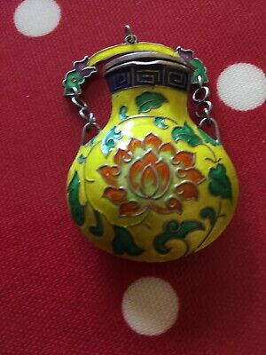Vintage Chinese Cloisonné Enamel On Silver Pendant Snuff or Perfume Bottle