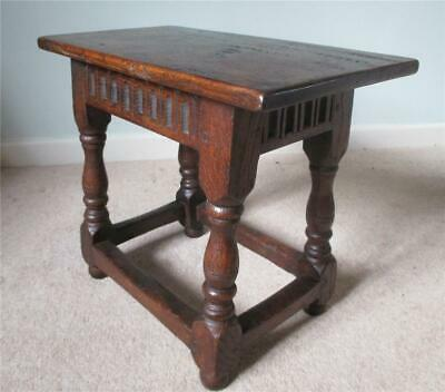 Antique Carved Oak Joint Stool