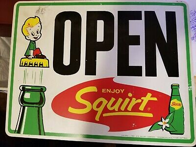 """Vintage Squirt Open Closed Sign With Bottle And Squirt Boy Cr 1962 Vgc 13""""X 10"""""""