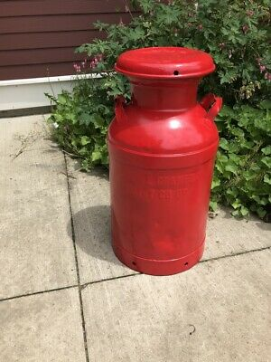 Nice Antique Red 10 Gallon Milk Can Embossed (ERIE CRAWFORD CO.)