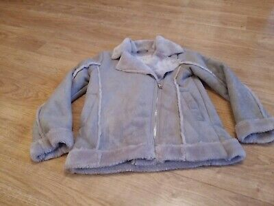 Girls Tu Grey Suede Effect Jacket with collar Age 9-10  134 -140 cm Pre-owned