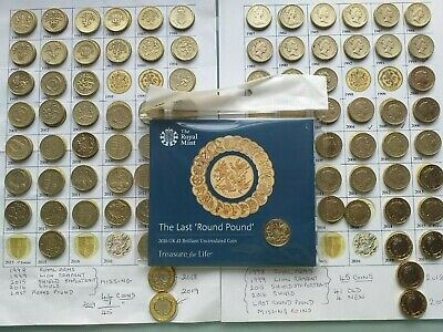46 Different Dates Old £1+£1 Coins+Last Round Pound Sealed+ Extended Album