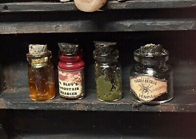 (B275) Witchy Bottles 4 Pcs Halloween Dollhouse Miniature Witch Potion Spell