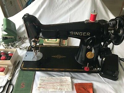 Singer 201 Sewing Machine Serviced, Tested, Rewired, Loads of Accessories