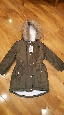 Bnwt bluezoo girls parka  shower resistant  extra warmth coat age 6-7 years .