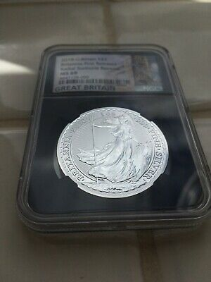 2018  Britannia 1oz Silver NGC MS69 Graded Coin - First Release