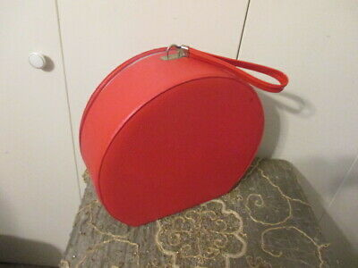 """Vintage Round Suitcase Luggage Bag Train Case Hat Box Wig RED 13"""" FAUX LEATHER"""