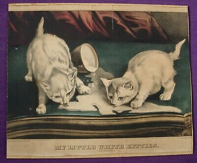 1871 CURRIER & IVES MY LITTLE WHITE KITTENS into MISCHIEF PRINT SPILLED MILK