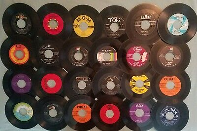 """Lot of 24 SINGLES 50s 60s pop soul rock 45 RECORDS 7"""" ALL PICTURED"""