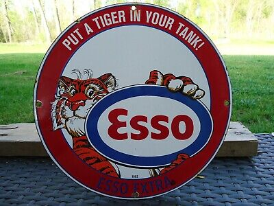 "Old 1962 Esso Extra Gasoline & Oil Porcelain Gas Pump ""Put A Tiger In Your Tank"""