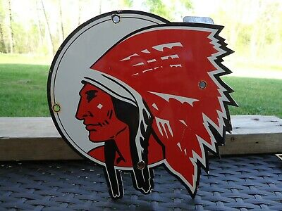 Old Vintage Indian Chief Gasoline Porcelain  Gas Station Door Sign Die Cut