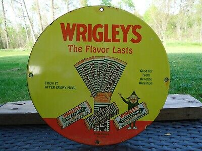 Old Vintage Wrigley's Spearmint & Doublemint Gum Porcelain  Gas Station Sign