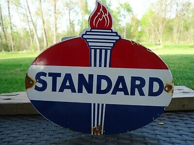 Old Vintage Oval Standard Motor Oil & Gasoline Porcelain Gas Station Sign