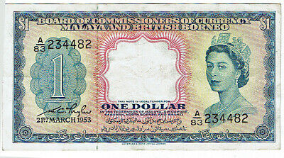 Crisp 1953 Malaya and British Borneo Dollar A83 234482