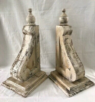 "2 XL WOOD CORBELS Vintage Gable Brackets Corner Brace Roof Support 20"" TALL"