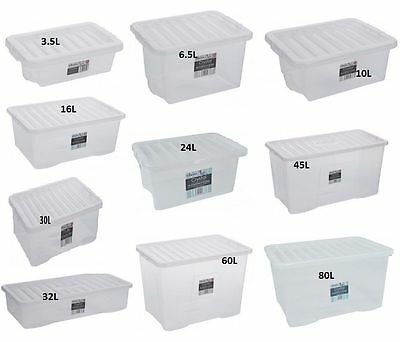 Clear Strong Plastic Storage Box Boxes With Lids Home Office Stackable Uk Made