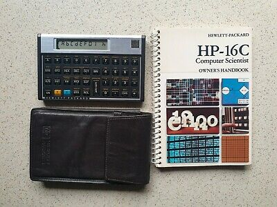 HP 16C Computer Scientist Calculator w/Leather Case & Manual
