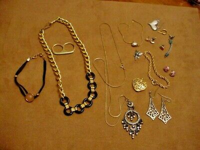 Small Misc. Lot of jewelry unbranded necklaces, ring, single earrings & pendant