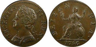 1754 Great Britain 1/4 Penny, Farthing, PCGS MS 63, George II WHOLESALE PRICE