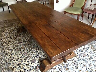 Stunning Solid Heavy Oak Antique French Farmhouse Refectory  Table