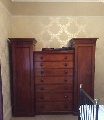 Antique Victorian Solid Mahogany Compactum Wardrobe Chest of Drawers
