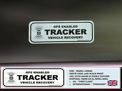 2 x TRACKER WINDOW STICKERS - GPS TRACKING IMMOBILISER THEFT STOLEN RECOVERY