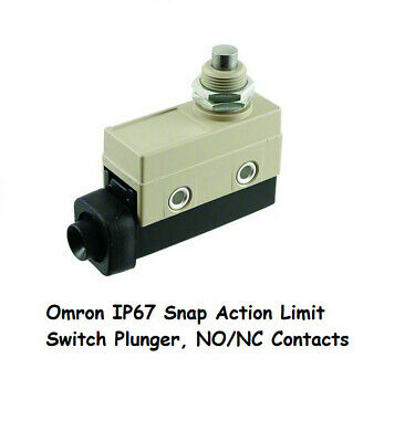 Omron IP67 Snap Action Limit Switch Plunger, NO/NC Contacts