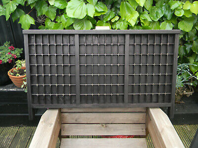 Vintage Letterpress Wooden Printers Tray with decorative brass corner protectors