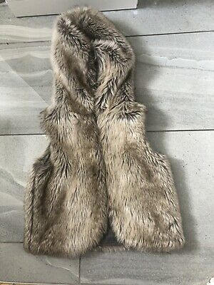 NEXT girls fur gilet Age 9 VGC