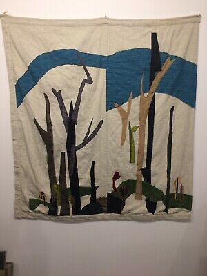 """Mid Century Modern Boho Quilted Tapestry Wall Hanging Fiber Art. 53"""" X 48"""""""