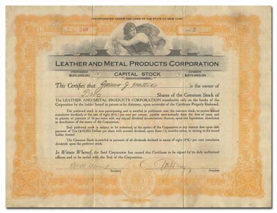 Leather and Metal Products Corporation Stock Certificate (Buffalo, New York)