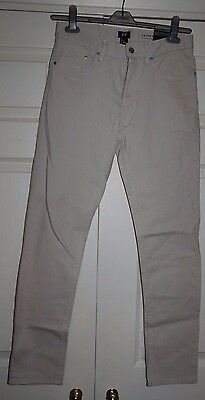 New H&M 29W (Sz10) Beige Cotton Skinny fit Stretch Trousers Jeans Zip Fly gift