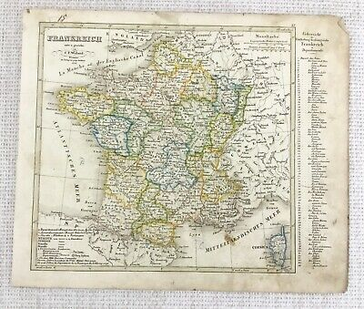 1842 Antique Map of France French Corsica Rare Hand Coloured Engraving
