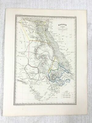 1846 Antique Map of Egypt Abyssinia Nubia Rare Hand Coloured Engraving