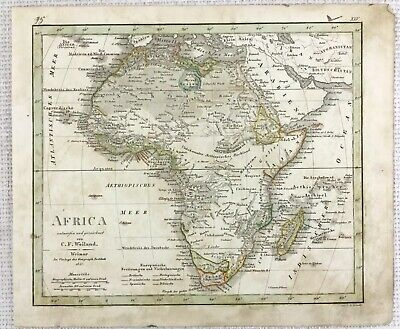 1842 Antique Map of Africa Madagascar Arabia Rare Hand Coloured Engraving