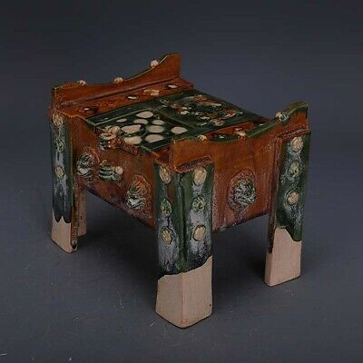 """6.3""""China Tang Dynasty Tri-coloured Glazed Pottery Carved Designs Money Cabinet2"""