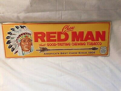 Red Man Chewing Tobacco Metal Sign With Chief