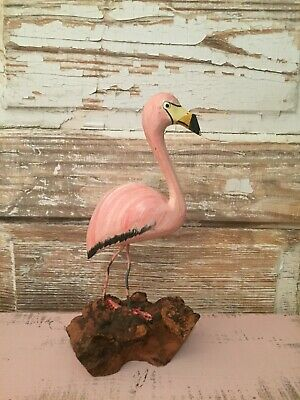 Vintage Hand Carved Pink Flamingo Figurine on Driftwood Base