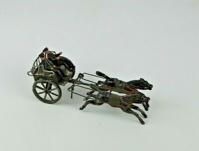 Antique Cast Iron, Tin and Lead Hand Painted Horse Drawn Cart with Two Riders