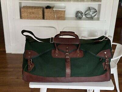 Vintage ORVIS Green Canvas & Leather Hunting Travel Duffle Bag Battenkill 28""