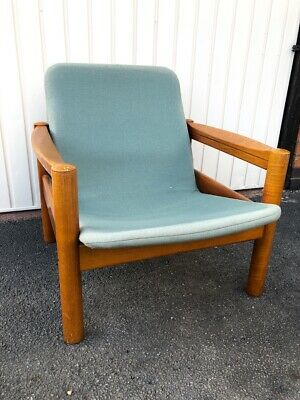 Vintage 1970s Domino Mobler Danish Mid Century Tufted Teak Low Lounge Chair