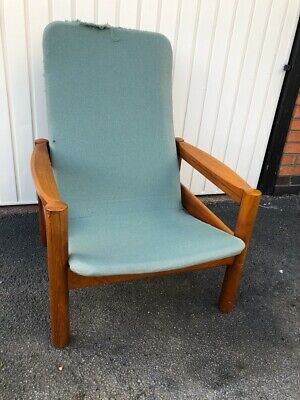 Vintage 1970's Domino Mobler Danish Mid Century Tufted Teak High Lounge Chair