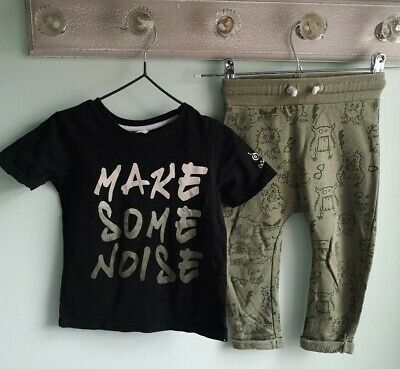 Baby Boys T-shirt & Jogger Bottoms Outfit By River Island Size 18-24 Months